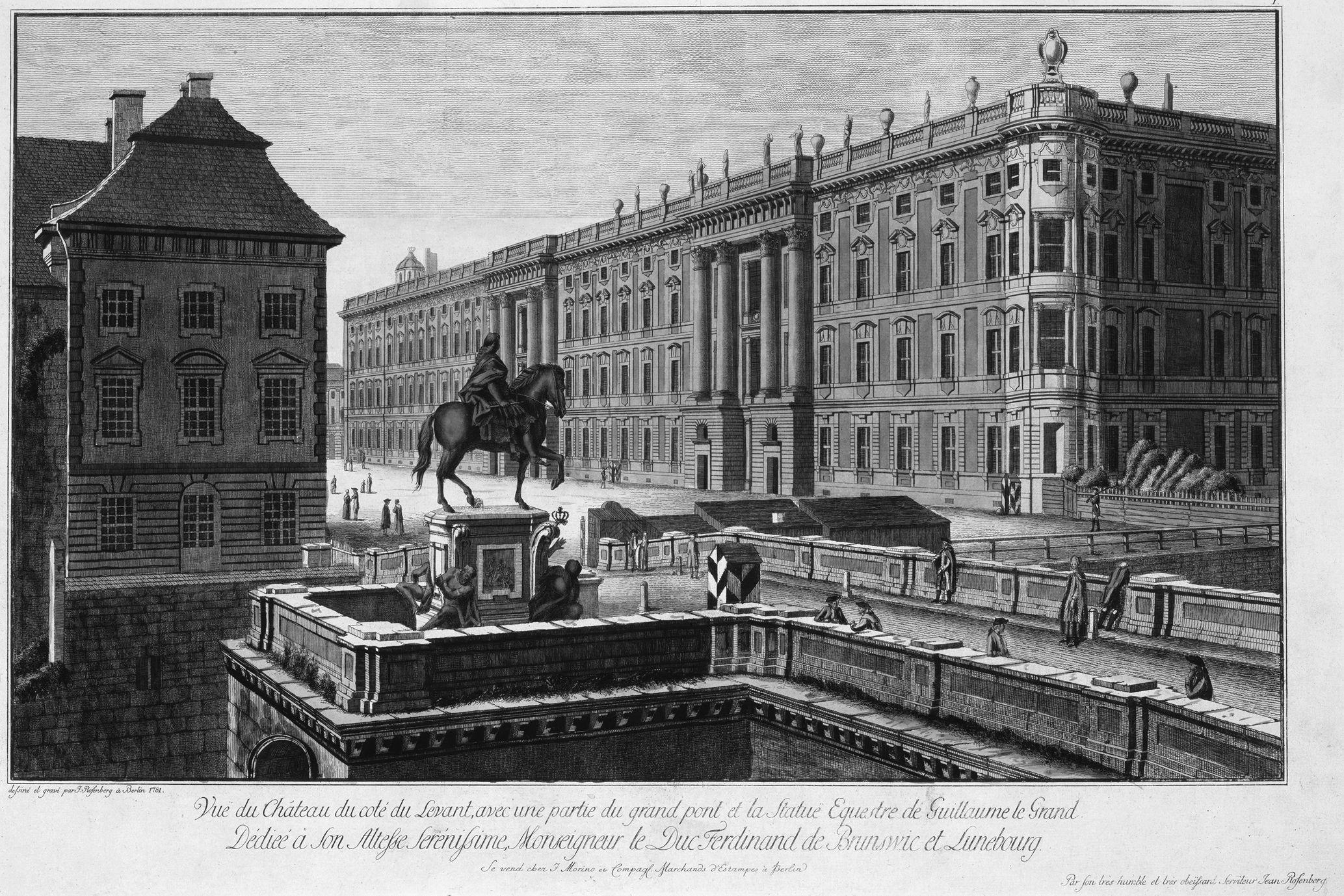 1 Johann Georg Rosenberg: Das Reiterstandbild des Großen Kurfürsten auf der Langen Brücke mit dem Schloss, Kupferstich, Berlin, 1781 (bpk / Staatliche Museen zu Berlin, Kupferstichkabinett / Jörg P. Anders).