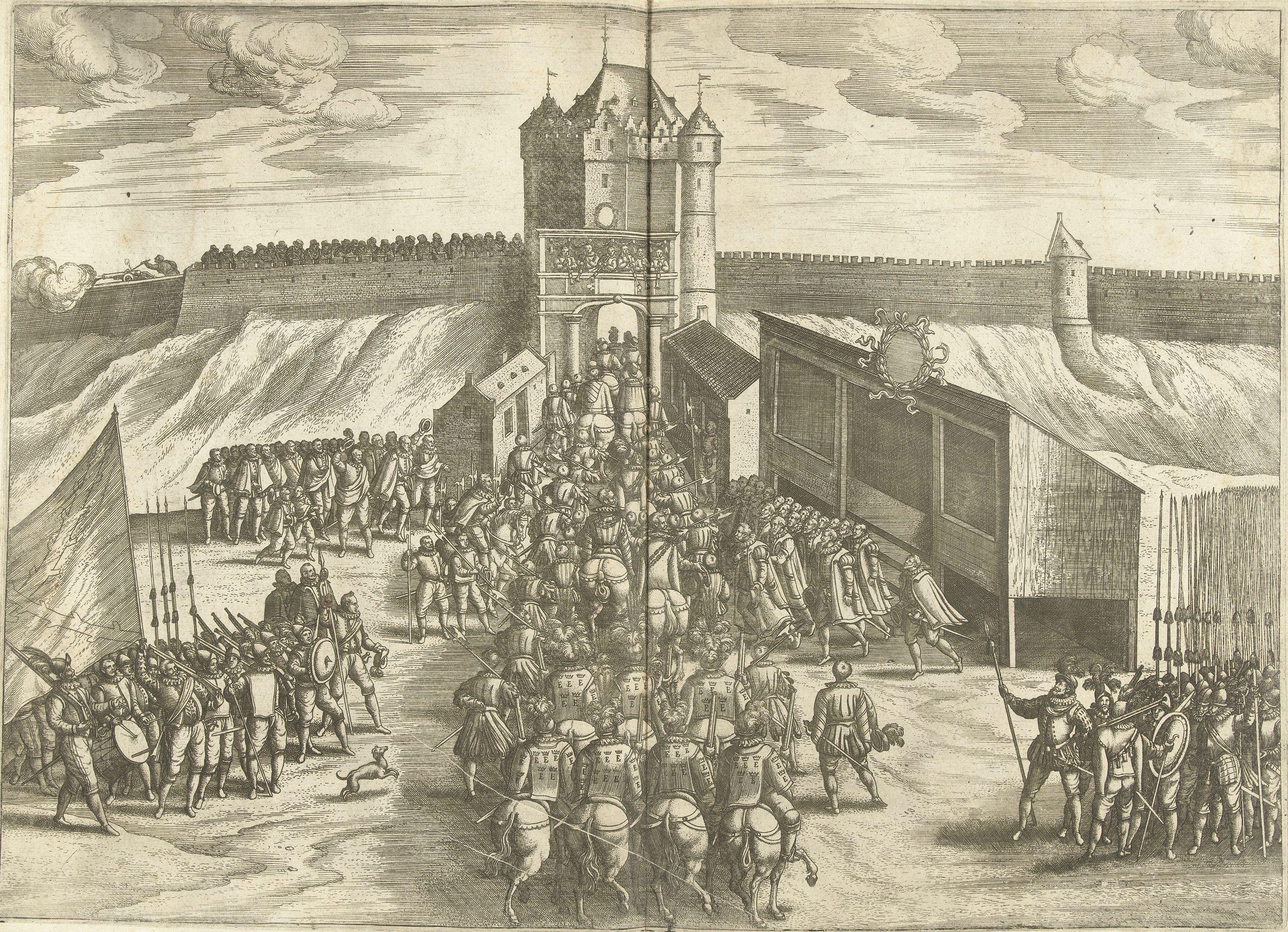 Abb.2: Unbekannter Künstler: Ankunft des Erzherzogs Ernst am Leuven- Tor in Brüssel, 1594, Radierung, 36 x 53 cm, Amsterdam, Rijksmuseum, Foto: Museum.