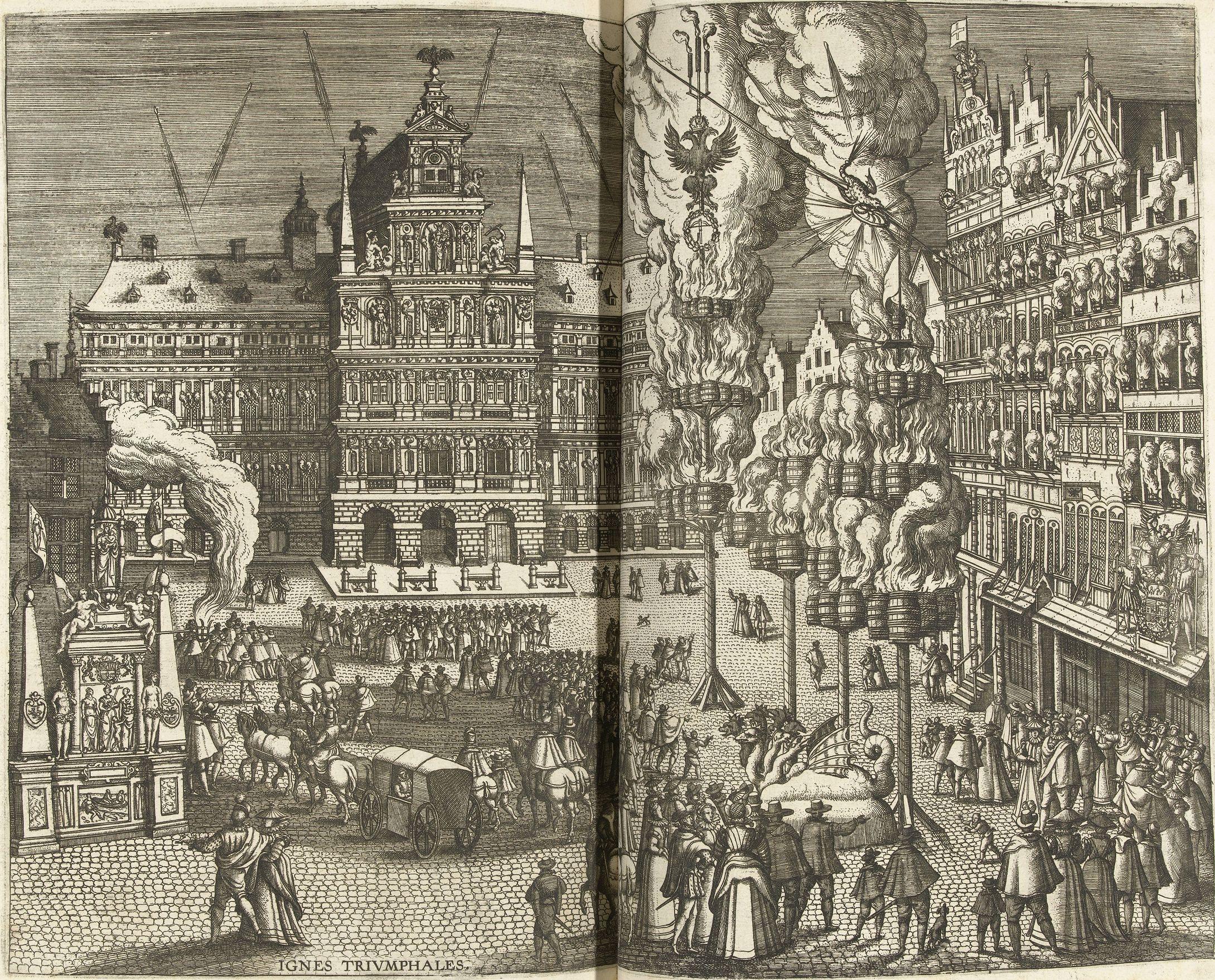 Abb. 3: Pieter van der Borcht (I): Feuerwerk auf dem Großen Markt in Antwerpen zu Ehren von Ernst von Österreich, 1595, Radierung, 32.8 x 44.5 cm, Amsterdam, Rijksmuseum,