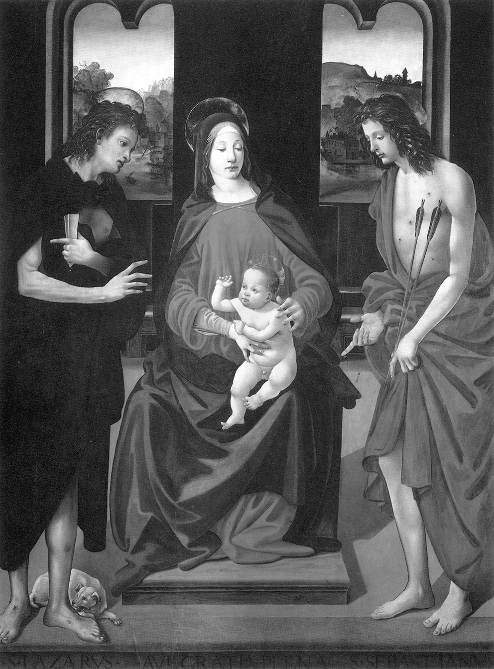 Piero di Cosimo: Maria mit Kind und den Heiligen Lazarus und Sebastian, Öl auf Holz, Montevettolini (Pisa), Chiesa dei Santi Michele Arcangelo e Lorenzo Martire.